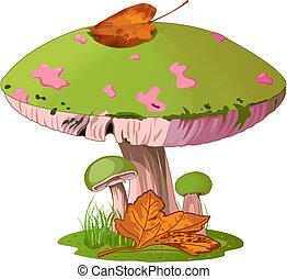 Mushrooms - Illustration  of Mushrooms in the grass.