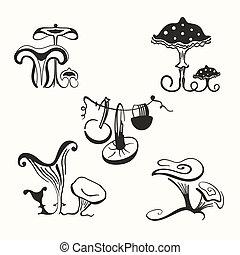 mushrooms - Set of stylized mushrooms