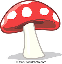mushrooms - Illustration of a red mushroom with white spots...