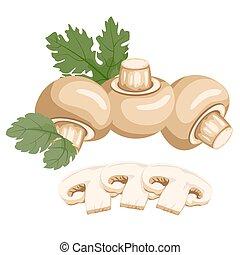 Mushrooms. Healthy lifestile - Mushrooms whole and cut into...