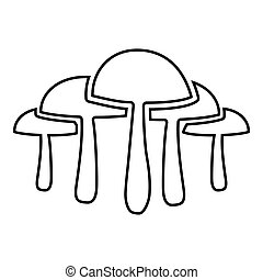 Mushrooms icon outline black color vector illustration flat style image