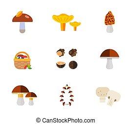 Mushrooms icon set