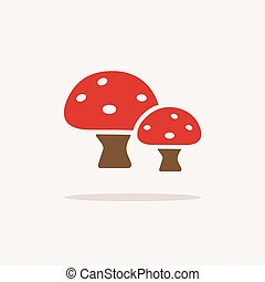 Mushrooms. Icon with shadow on a beige background. Autumn vector illustration