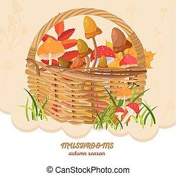 Mushrooms in a basket autumn harvest. Seasonal templates vector