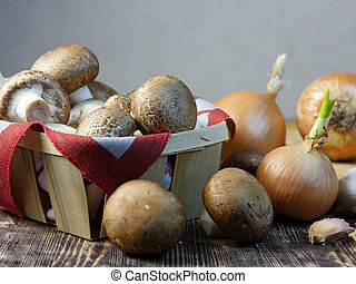 Mushrooms in a basket