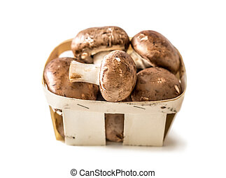 Mushrooms in a basket isolated on a white background.