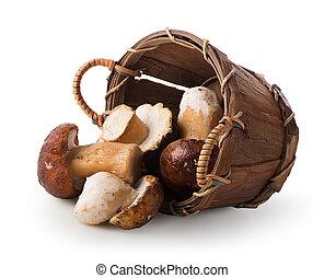 Mushrooms in a basket - Mushrooms in a wooden basket ...