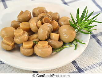 Mushrooms in a white plate