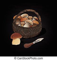 Mushrooms in the basket. Vector illustration.