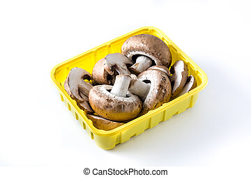 Mushrooms in yellow box isolated on white background.