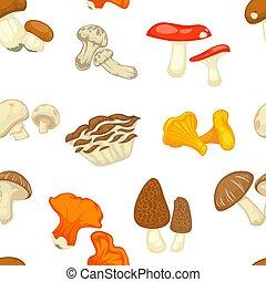 Mushrooms isolated flat seamless pattern. Vector edible champignon and boletus