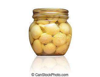 Mushrooms marinaded (champignons) in glass jar on a white background