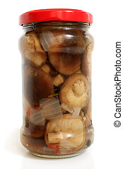 Mushrooms marinaded in glass jar