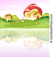 Mushrooms near the lake - Illustration of the thmushrooms...
