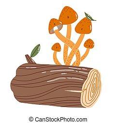 Mushrooms on a log, vector characters illustration