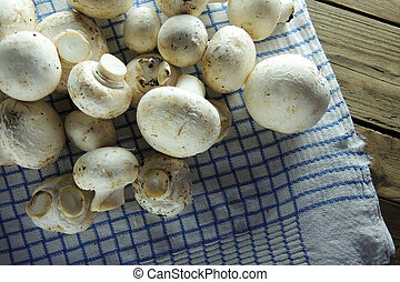mushrooms on a napkin.