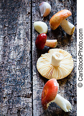 mushrooms on a wooden background selective focus