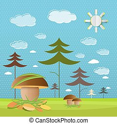 Mushrooms on Meadow with Forest on Background. Paper Cut Sun on Blue Sky with Clouds Vector Illustration.