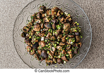Mushrooms Salad in glass bowl.