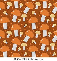 Mushrooms seamless pattern. Boletus edulis endless background, texture. Vegetable background. Vector illustration.