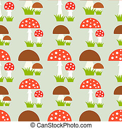 Mushrooms seamless pattern - Fly agaric and boletus...