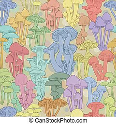 Mushrooms seamless pattern wallpaper. Line illustration multicolor mushrooms on green background