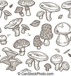Mushrooms sketch seamless pattern. Vector edible illustration