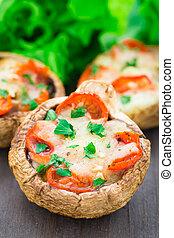Mushrooms stuffed with mozzarella and tomato - Portobello...