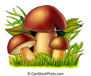 Three mushrooms between grass and leaves. Mixed media illustration.