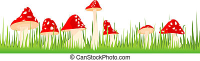 Red toadstools in the grass