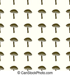 Mushrooms vector illustration on a seamless pattern background