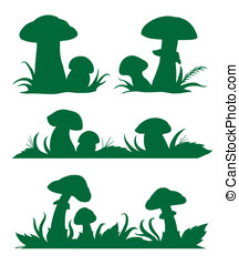 Mushrooms - Vector images of mushrooms silhouettes for...