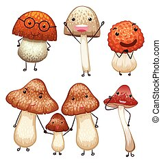 Mushrooms with happy face
