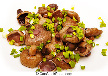 mushrooms with spices on white