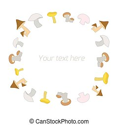 Mushrooms with text vector illustration