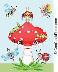 mushroon, rojo, insectos