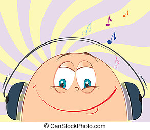 music., 微笑の 表面, ベクトル, 漫画, lisning