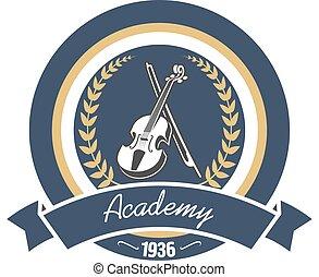 Music academy heraldic insignia with violin