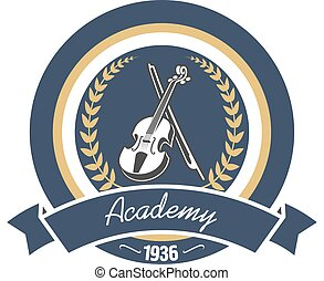 Music academy heraldic insignia with violin