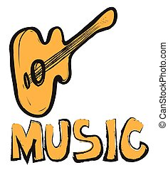 music and acoustic guitar sign icon