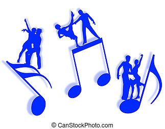 Music and dance - Couples dancing on notes in silhouette as ...