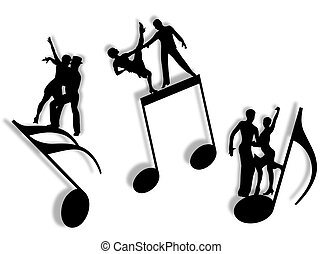 Couples dancing on notes in silhouette as symbol of music