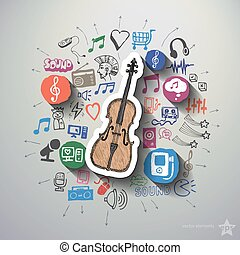 Music and entertainment collage with icons background