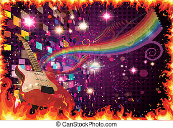 Music and guitar on the abstract background