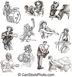 From series: MUSIC and MUSICIANS around the World - Collection of an hand drawn illustrations. Description: Full sized hand drawn illustrations, original freehand sketches.