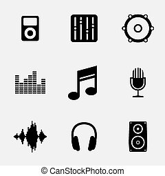 Music player indicates sound tracks and acoustic  Music