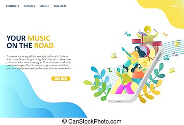 Your music on the road vector website template, web page and landing page design for website and mobile site development. Smartphone with people singing playing musical instruments. Music app concept.