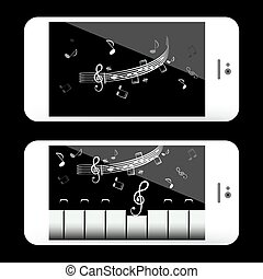 Music Application on Mobile Phone with Notes and Piano Keyboard