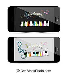 Music Application with Piano Keyboard and Notes on Mobile Phone Screen - Vector