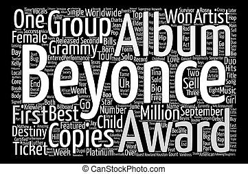 Music Artist Beyonce Bio Word Cloud Concept Text Background